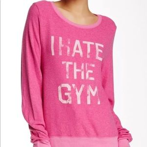 NWOT Wildfox 'I Hate the Gym' Sweatshirt Hot Pink